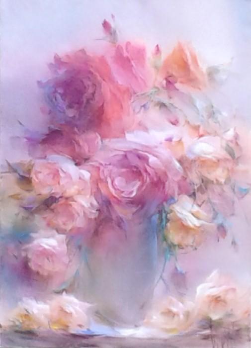 Розы холст масло 108 2012 50х70 oil on canvas roses